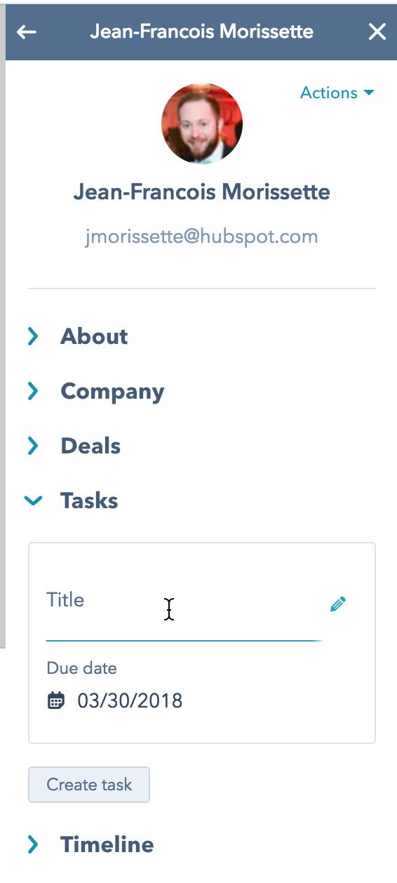 ajouter des tâches HubSpot