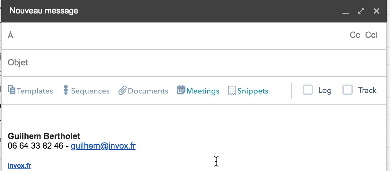 email barre d'options HubSpot