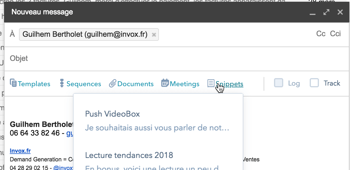 insertion de snippet HubSpot