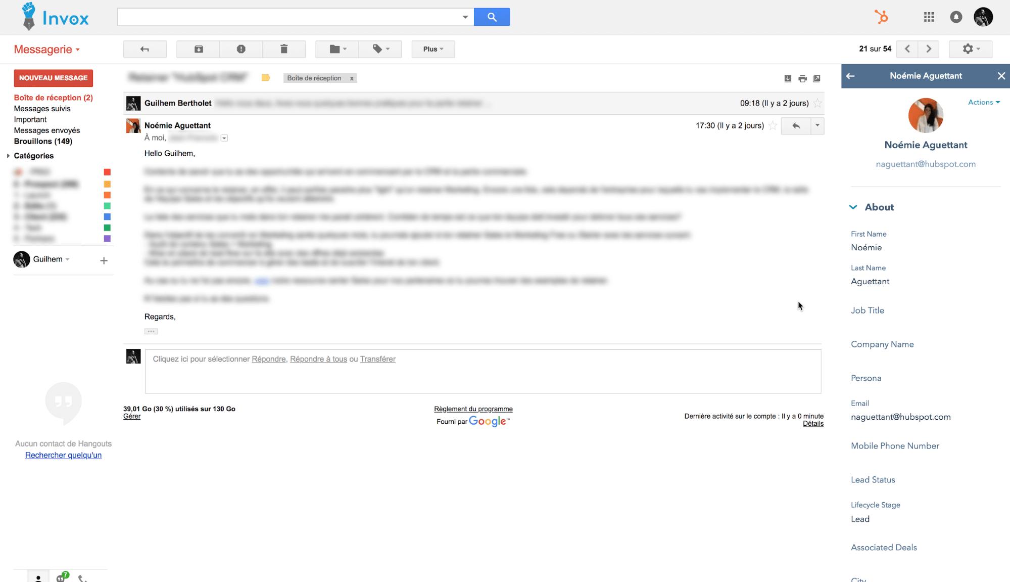 boîte mail HubSpot