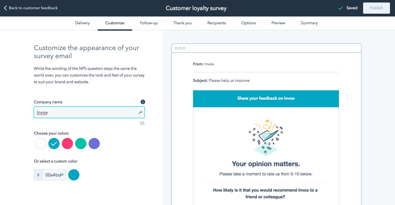 HubSpot Service questionnaire NPS et feedback