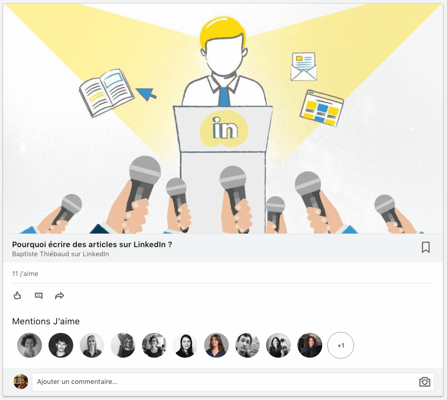 les premiers like d'un article LinkedIn