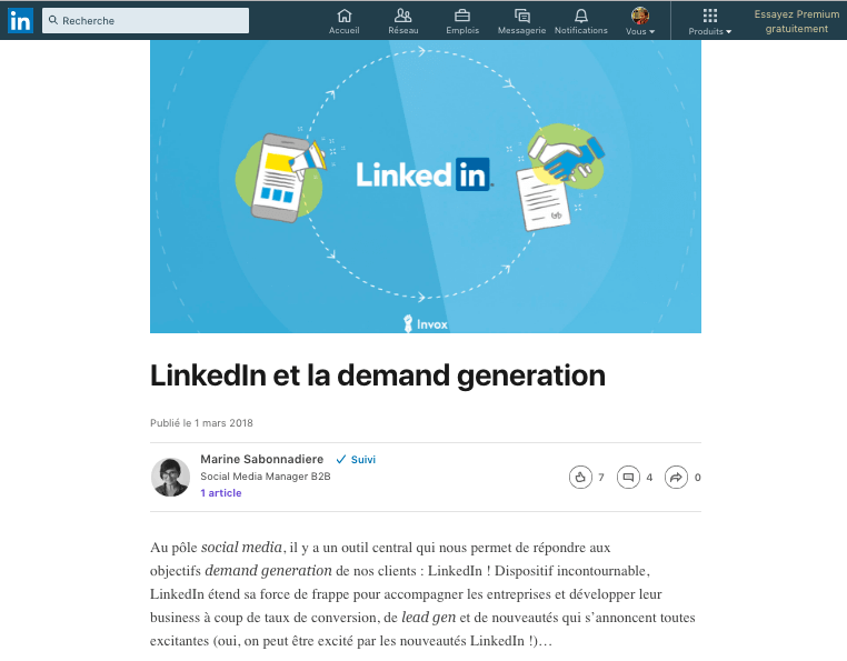 Exemple d'une tribune LinkedIn Pulse