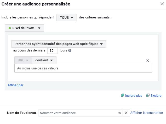 configuration du pixel facebook: audience personnalisée. Demand generation avec Linkedin