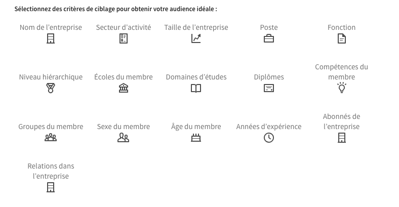 Content marketing et social media : exemple d'un ciblage possible pour une campagne LinkedIn
