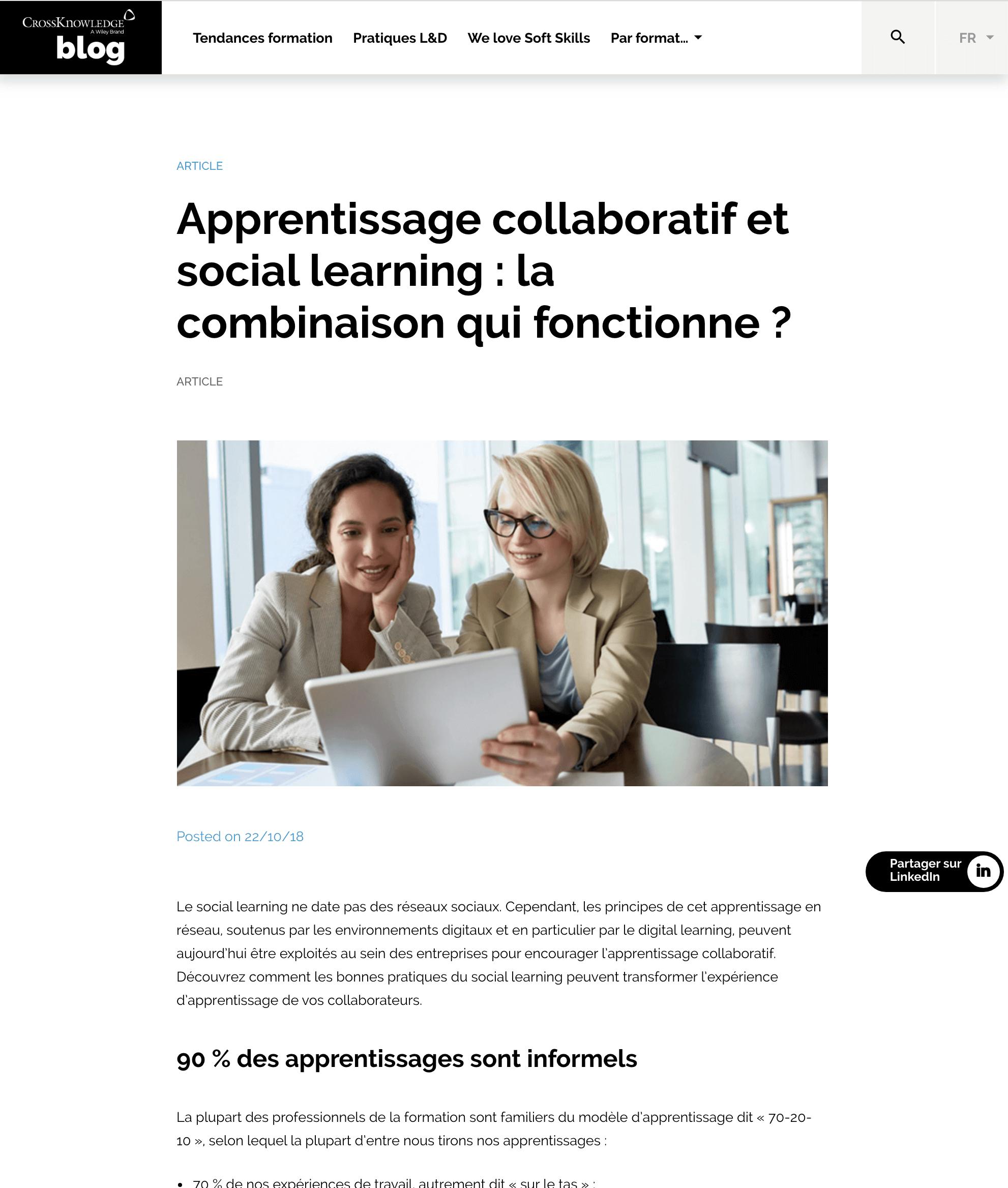 CrossKnowledge – Apprentissage collaboratif et social learning : la combinaison qui fonctionne ?