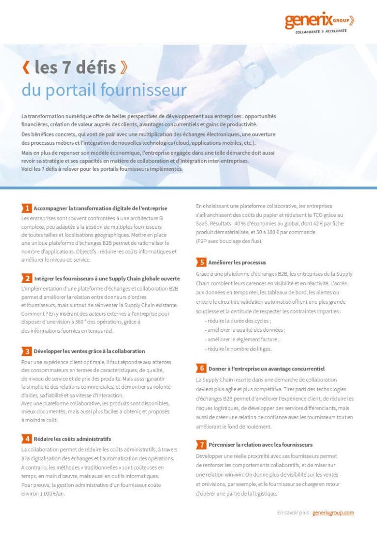 Generix – Les 7 défis du portail fournisseur