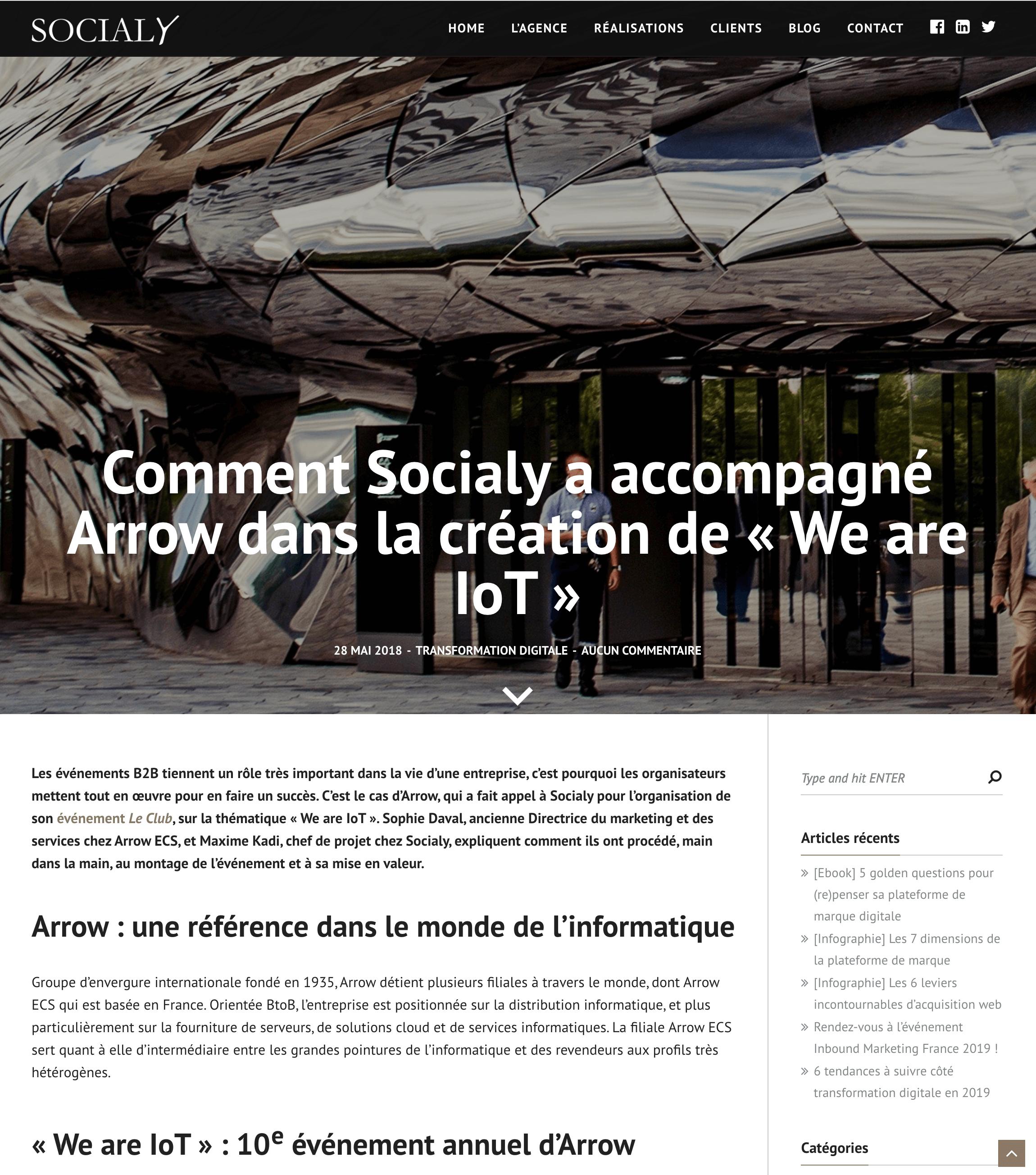 Socialy – Comment Socialy a accompagné Arrow dans la création de We are IoT