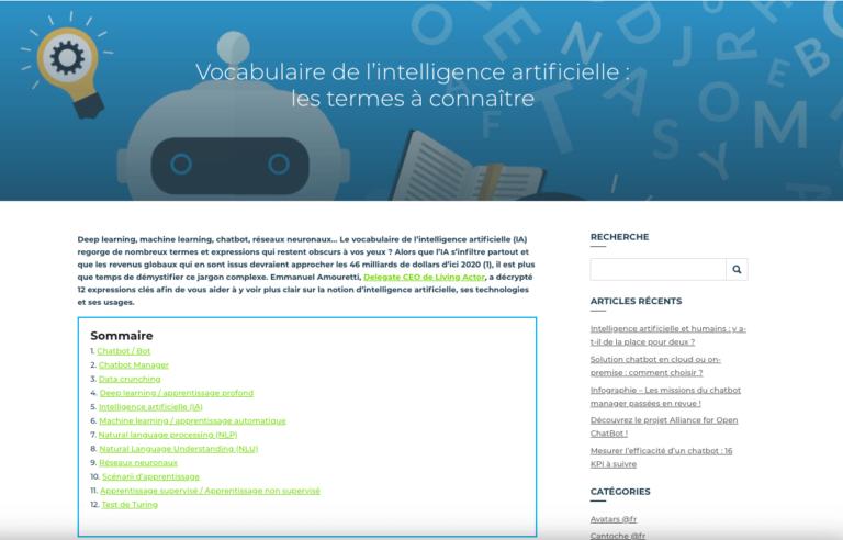 LivingActor – Glossaire de l'intelligence artificielle