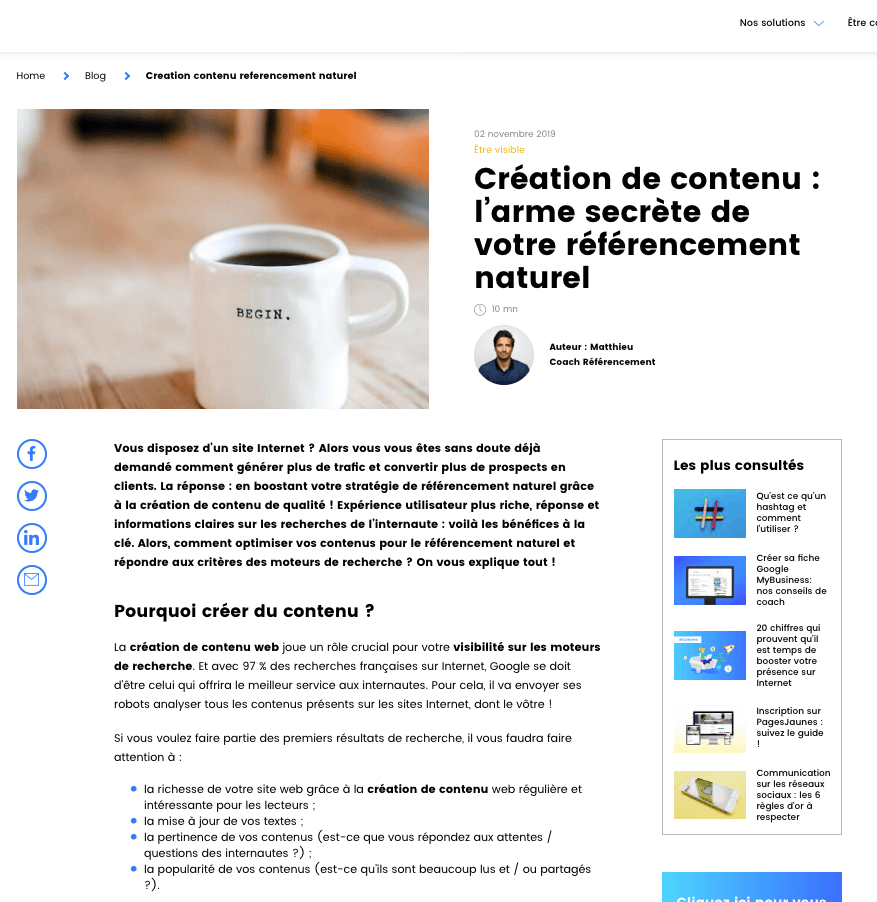Solocal– La création de contenu pour booster son référencement