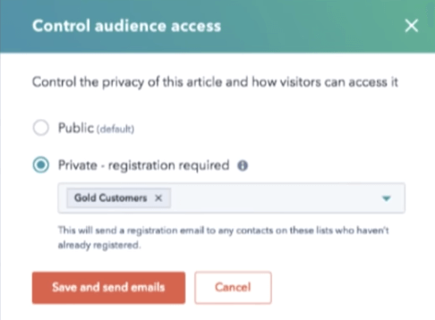 hubspot control audience access