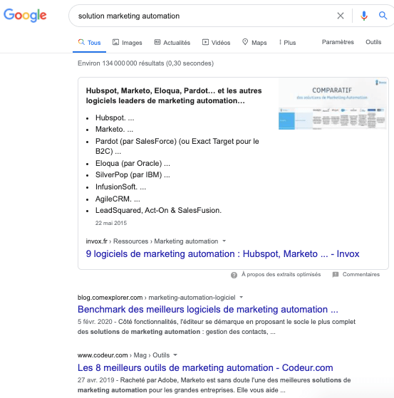 featured snippet actualités 2020