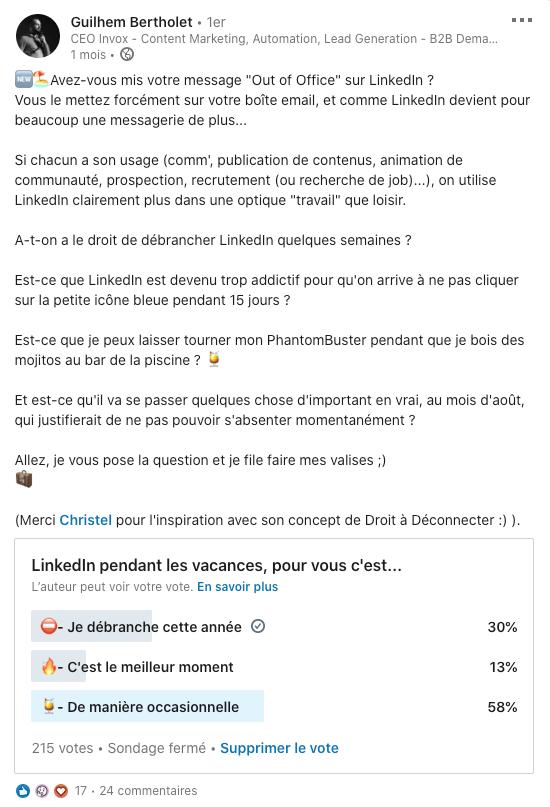 sondage linkedin